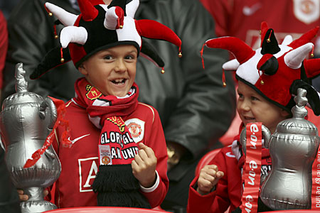 Two young Manchester United supporters