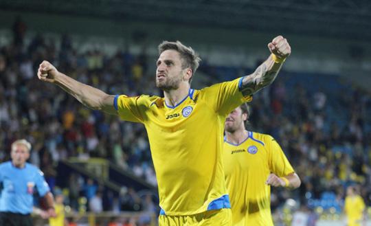 Ян Голенда празднует гол в ворота Алании.