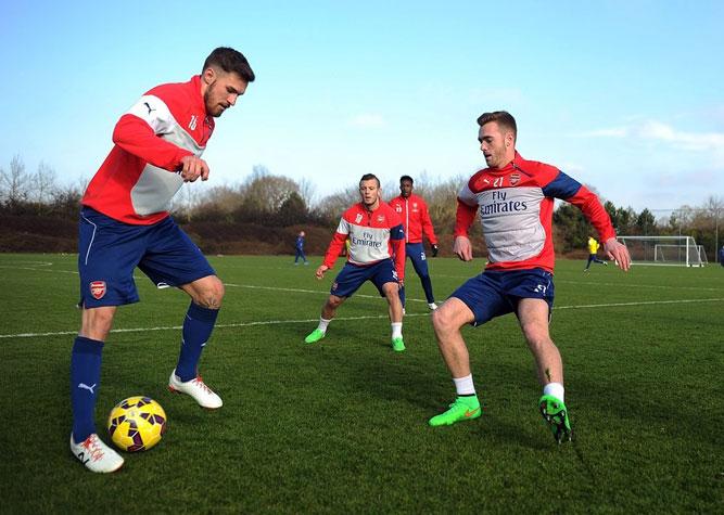 тренировка Арсенала перед матчем с Лестером
