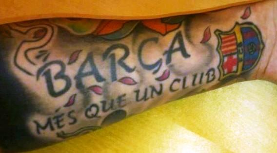 татуировка надпись фк барселона